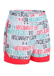 Under Armour® Girls 4-6x Wordmark Print Shorts