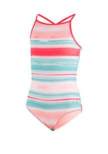 Under Armour® Girls 7-16 Sunset Stripe One Piece Swimsuit
