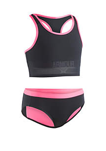 Under Armour® Girls 7-16 UA Racer 2 Piece Midkini Swimsuit
