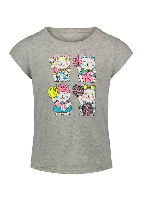 Under Armour® Girls 4-6x Good Luck Cat T-Shirt
