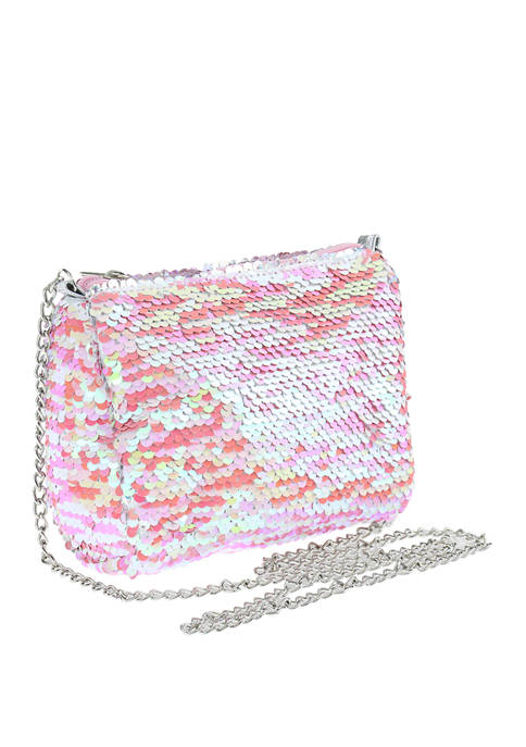 Capelli New York Girls Reverse Sequin Crossbody Bag