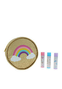 Girls Rainbow Pouch and Lip Balm Set