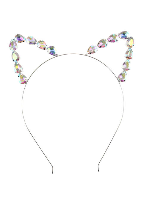 Capelli New York Girls Rhinestone Cat Ear Headband