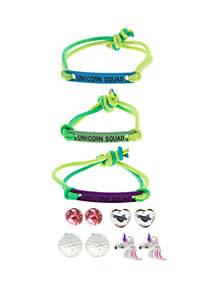 Capelli New York Girls 4-6x Unicorn Bracelet and Earring Set