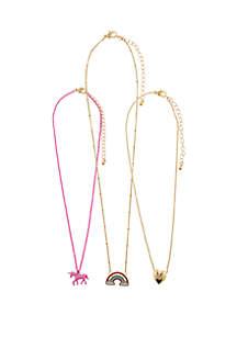 Capelli New York Girls 4-6x Unicorn Rainbow Charm Necklace Set