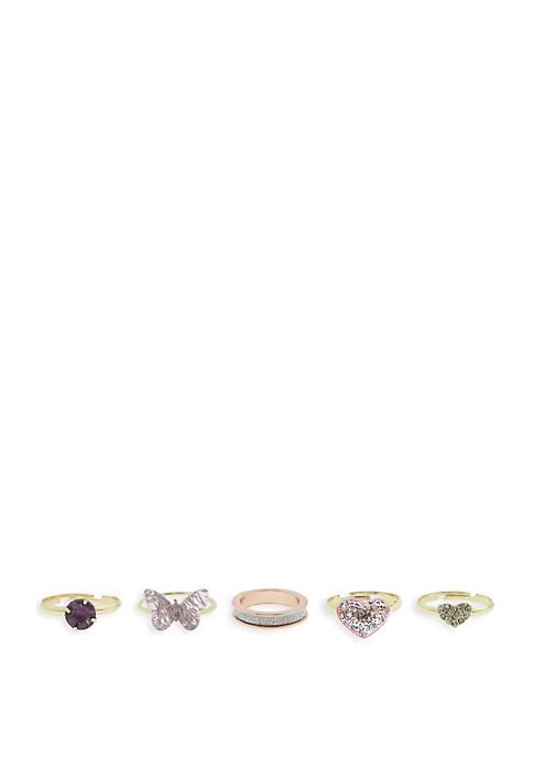 Toddler Girls 5 Pack Pretty Ring Set