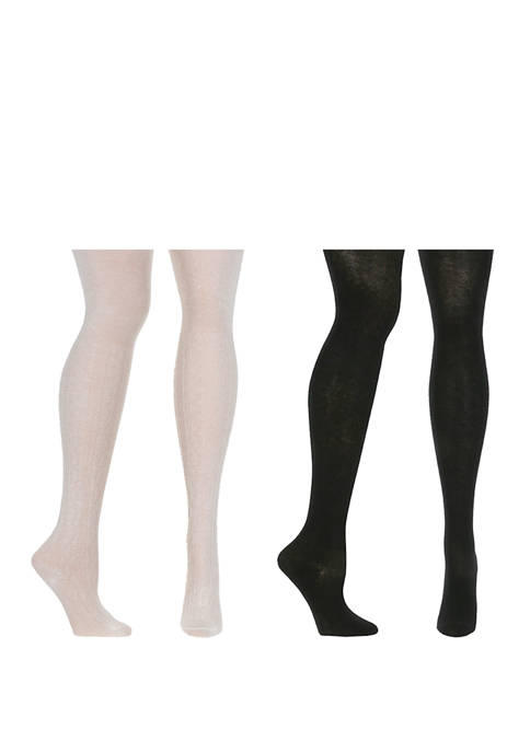 Toddler Girls Set of 2 Cable Sweater Tights