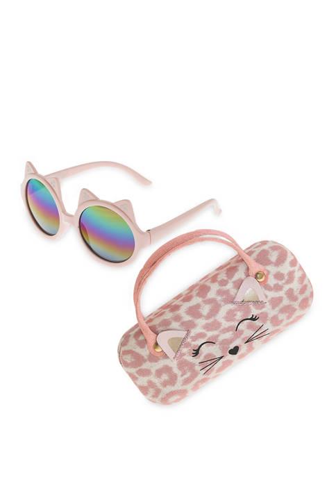 Capelli New York Girls Leopard Kitty Sunglasses Set