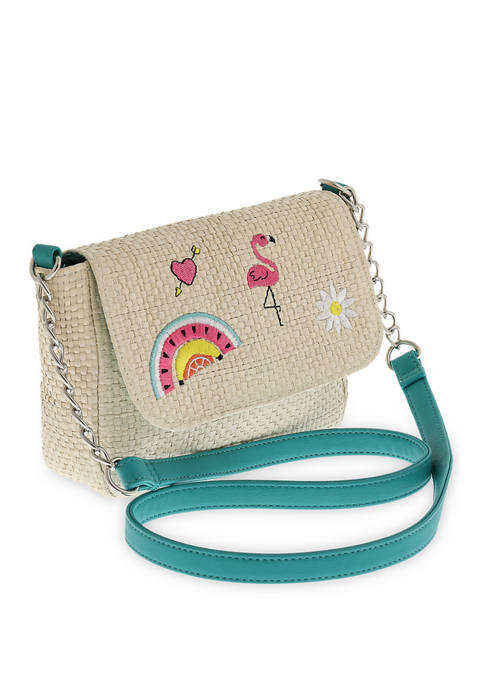 Capelli New York Girls Summer Patch Straw Crossbody
