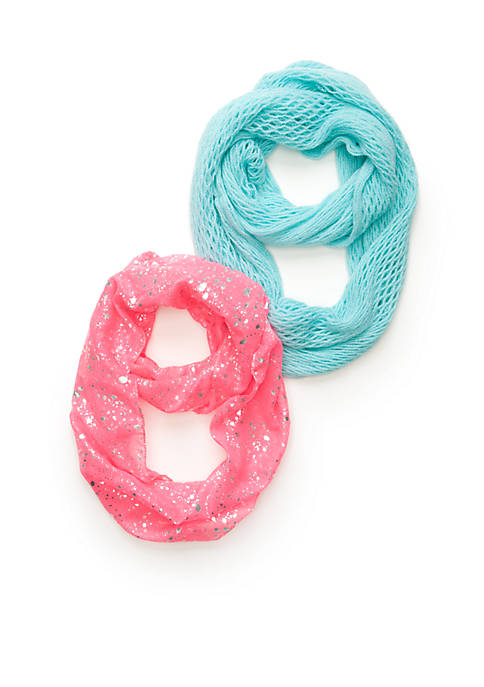 Splatter Foil Printed Scarf and Solid Knit Loop Scarf 2-Piece Set