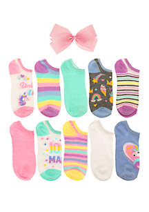 Capelli New York Girls 7-16 Unicorn Life No Show Sock Set