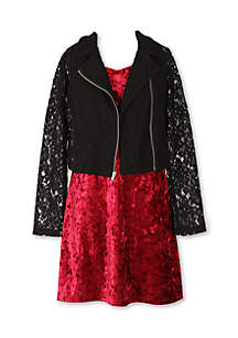 Solid Dress and Lace Bomber Jacket Girls 7-16