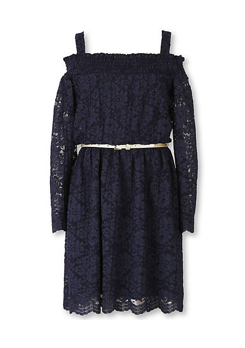Speechless Cold Shoulder Lace Peasant Dress Girls 7-16