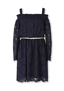 Cold Shoulder Lace Peasant Dress Girls 7-16