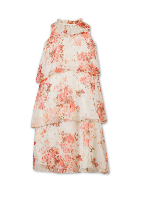 Girls 7-16 Lurex® Chiffon Floral Tiered Dress