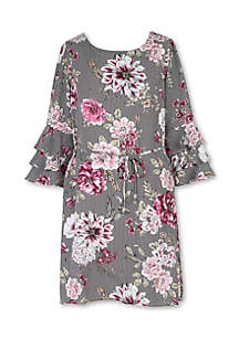 Girls 7-16 Stripe Floral Flounce Sleeve Dress