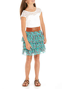 Girls 7-16 Short Sleeve Belted Dress