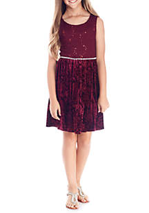 Lace Crushed Velvet Dress Girls 7-16