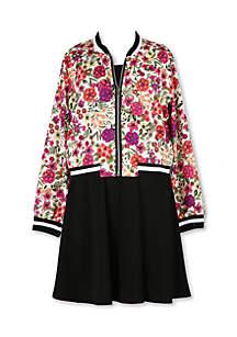 Girls 7-16 Bomber Jacket Floral Skater Dress