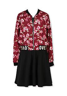 Girls 7-16 Bomber Jacket with Solid Skater Dress
