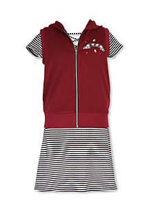 Girls 7-16 Short Sleeve Stripe Dress with Zip-Up Dress