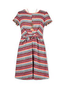 Speechless Girls 7-16 Stripe Knot Front Knit Dress