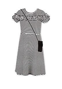 Speechless Girls 7-16 Stripe Knit Dress and Purse Set