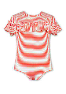 Speechless Girls 7-16 Short Sleeve Stripe Ruffle Front Bodysuit