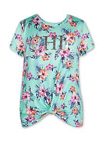 Speechless Girls 7-16 Short Sleeve Hi Aqua Floral Twist Front T Shirt