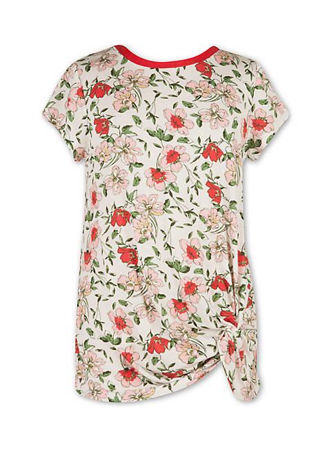 Girls 7-16 Short Sleeve Floral Side Twist T Shirt