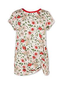Speechless Girls 7-16 Short Sleeve Floral Side Twist T Shirt