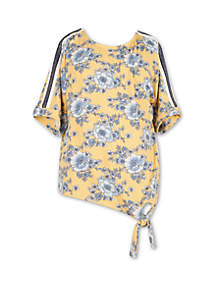 Speechless Girls 7-16 Short Sleeve Floral Side Tie Knit Top