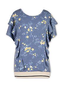 Speechless Girls 7-16 Short Sleeve Floral Banded Bottom T Shirt