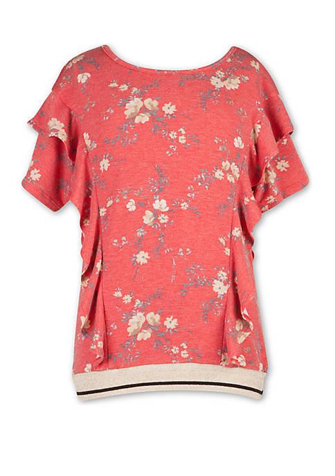 Girls 7-16 Short Sleeve Floral Banded Bottom T Shirt
