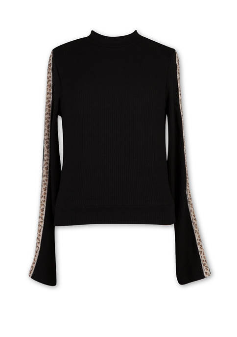 Girls 7-16 Long Sleeve Solid Knit Top