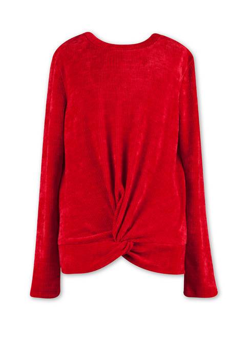 Girls 7-16 Solid Knotted Front Knit Shirt