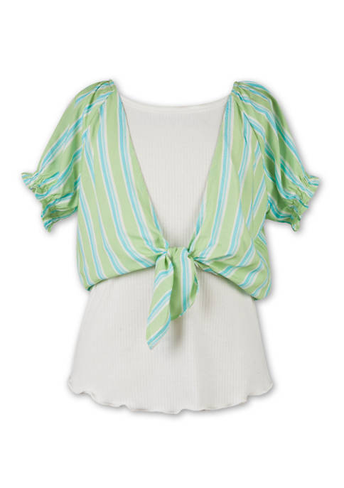 Girls 7-16 2 Piece Tie Front Woven Over Knit Tank Set