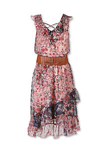 Girls 7-16 Sleeveless Floral Belted Midi Dress