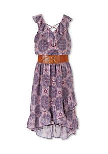 Girls 7-16 Sleeveless Medallion Belted Midi Dress