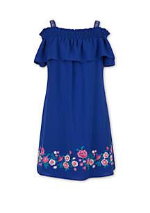Speechless Girls 7-16 Blue Off the Shoulder Dress