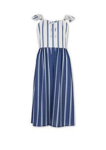 Speechless Girls 7-16 Blue White Stripe Jumpsuit