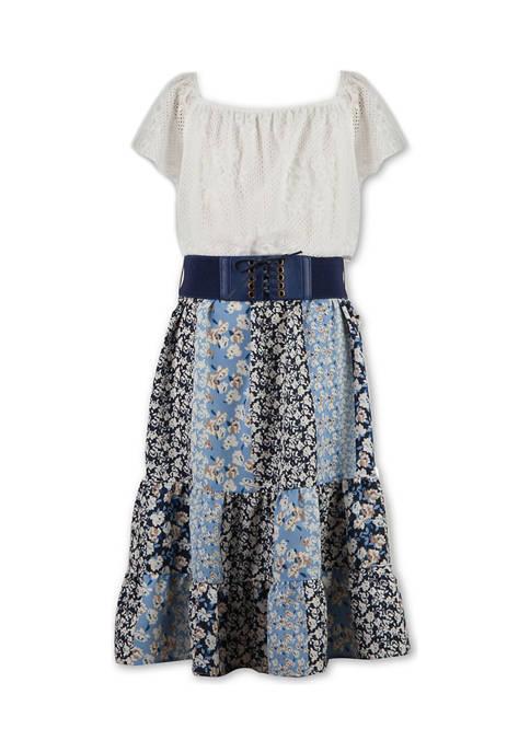 Girls 7-16 Navy Belted Dress