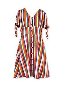 Speechless Girls 7-16 Tie Sleeve Button Front Stripe Dress