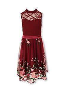 Sleeveless Embroidered Dress Girls 7-16