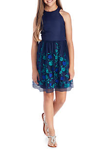 Floral Embroidered Dress Girls 7-16