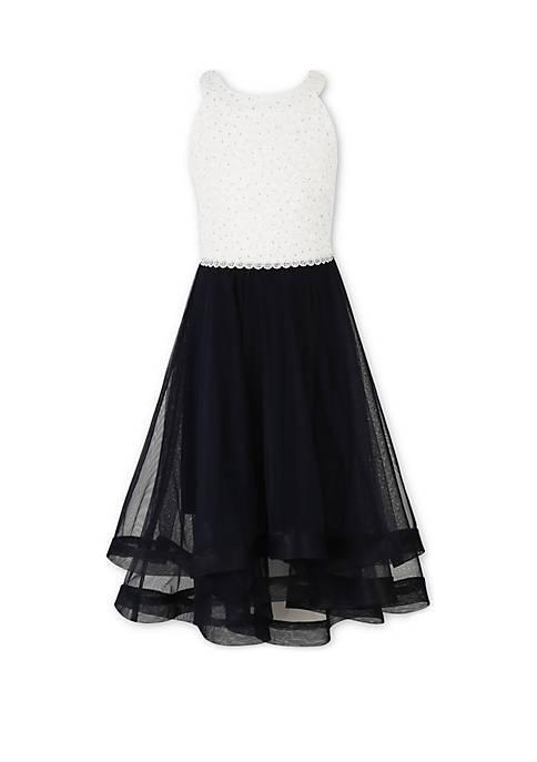 Girls 7-16 Air Ivory Black Halter Dress
