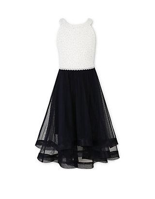 43358910867 Speechless Girls 7-16 Air Ivory Black Halter Dress
