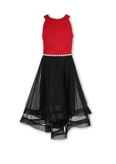 Girls 7-16 Color Block High Low Dress