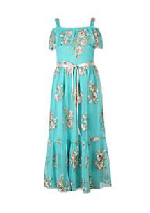 Cold Shoulder Floral Maxi Dress Girls 7-16