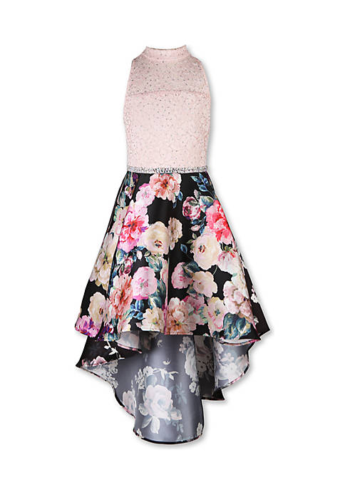 Girls 7-16 Ivory to Floral High Low Party Dress